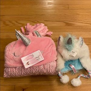 Girls unicorn blanket and unicorn hat